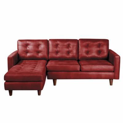 Sofá chaiselong 2c izquierdo napoles cuero rojo