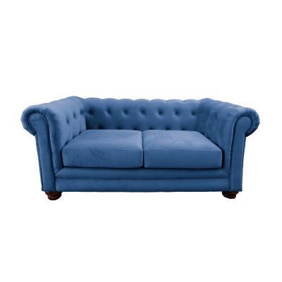 Sofá florencia 2c tela soft velvet azul petróleo