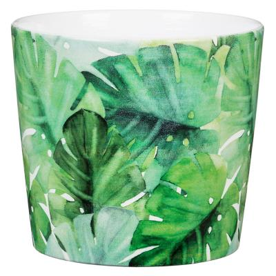 Macetero tropical cerámica 18 cm verde