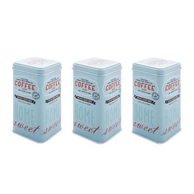 Pack 3 canister con tapa metal 14,5x7,5 cm celeste