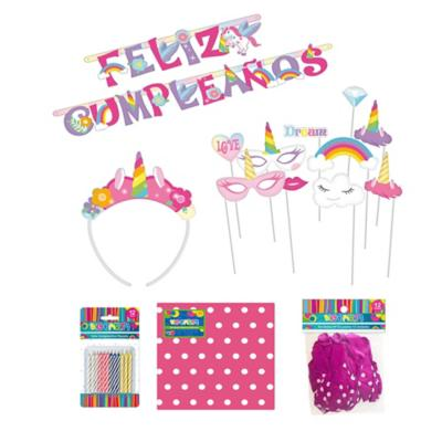Set cumpleaños unicornio