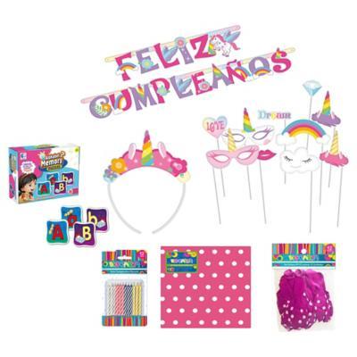 Set cumpleaños unicornio con juego de memoria