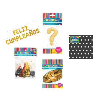 Set cumpleaños negro/dorado