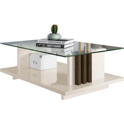 Mesa centro Frizz 33x90x60 Blanco/Café