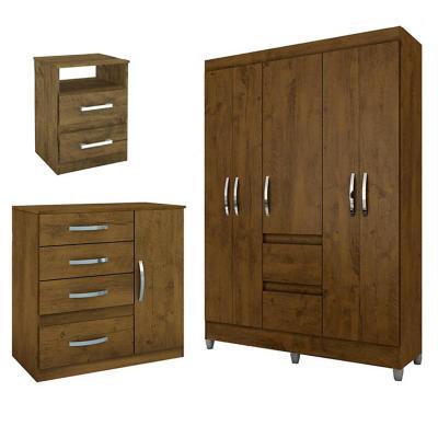 Combo closet dakar + cómoda + velador