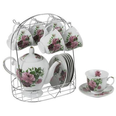 Juego 6 tazas de té flores con platillo + tetera y atril