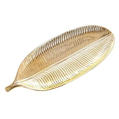 Centro de mesa hoja 30 cm dorada