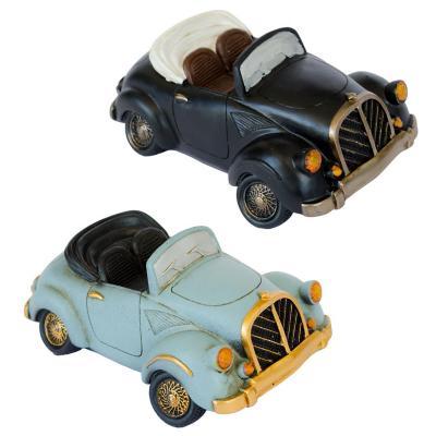 Pack 2 alcancías auto vintage 8 cm verde/celeste