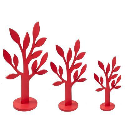 Set figuras decorativas arboles madera 20 cm rojo