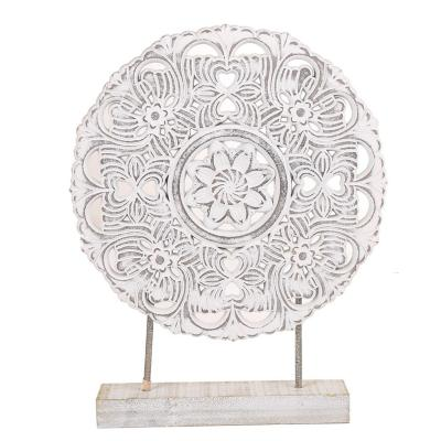 Totem plato decorativo madera 47 cm blanco