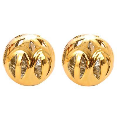 Set 2 esferas cerámica 7 cm dorada
