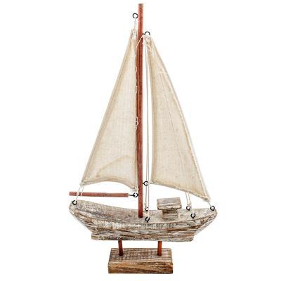 Velero decorativo vintage madera 25 cm blanco