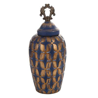 Ánfora cerámica 31 cm color azul/dorado