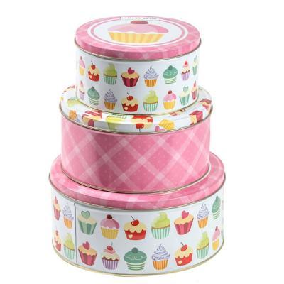 Set 3 cajas redondas metálicas diseño cupcake