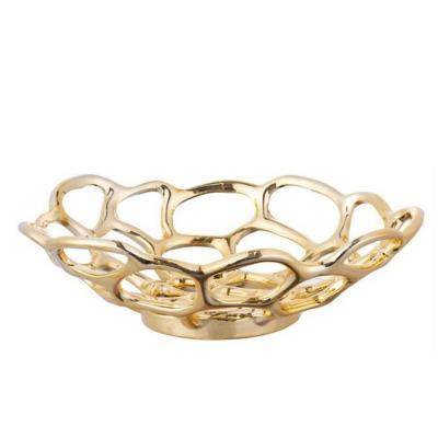 Centro de mesa cerámica 30 cm dorado