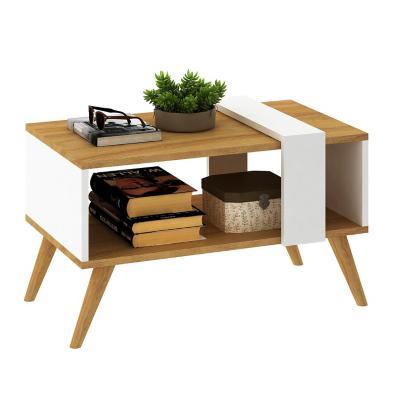 Mesa de centro 39x67x39 cm blanco/café