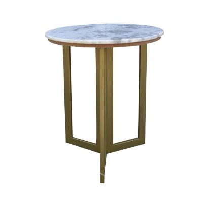 Mesa lateral mármol base dorada 50x50x58 cm blanco