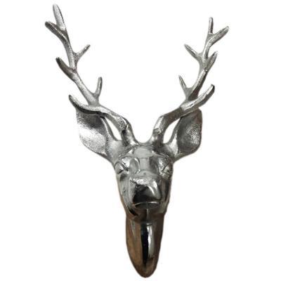 Figura decorativa cabeza reno 20x17x32 cm plateada