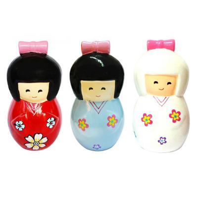 Pack 3 alcancias cerámica oriental 15 cm multicolor