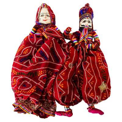 Set 2 marionetas decorativas tela 35 cm rojo