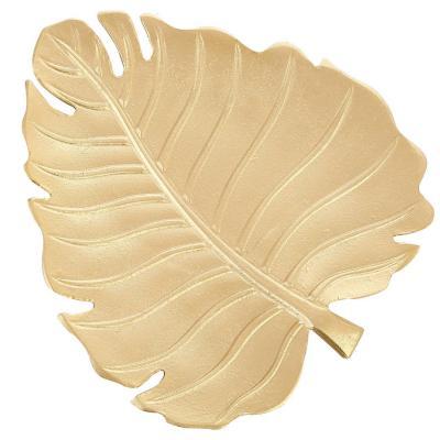 Centro de mesa hoja madera luxor 30 cm dorada