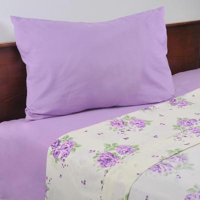 Juego sábanas combinadas gales lila/blanco 1,5 plazas