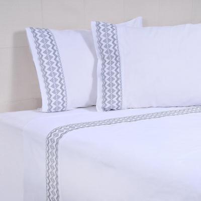 Juego sábanas Matilde 144 hilos blanco 2 plazas