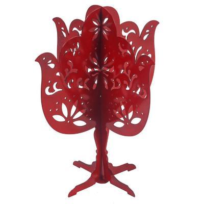 Porta joyas árbol metal 19 cm rojo