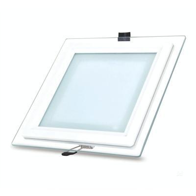Panel led embutido con marco de vidrio 12w 3000k