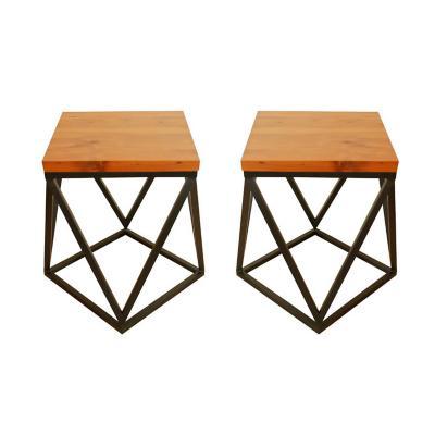 Set 2 mesas laterales pisos roble 58x58x56 cm