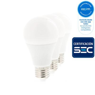 Ampolleta inteligente E27 60W blanco cálido pack 3 unidades