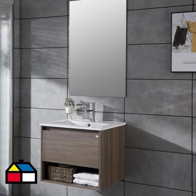 Mueble vanitorio Queen 61x46,5x50 cm Chocolate con lavamanos