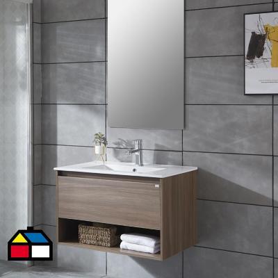 Mueble vanitorio Queen 91x46,5x50 cm Chocolate con lavamanos