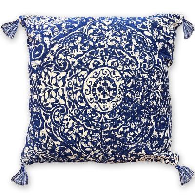 Cojín boho azul algodón 45x45 cm