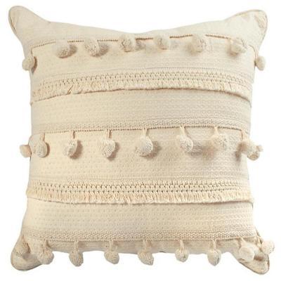 Cojín boho blanco invierno algodón 45x45 cm