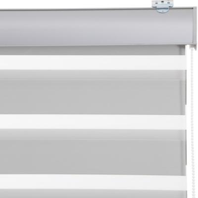 Cortina duo black out enrollable con instalación gris a la medida ancho entre 136 a 150 cm alto 161 a 175 cm