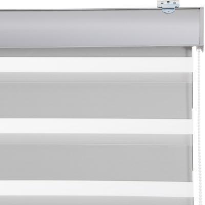 Cortina duo black out enrollable con instalación gris a la medida ancho entre 151 a 165 cm alto 60 a 100 cm