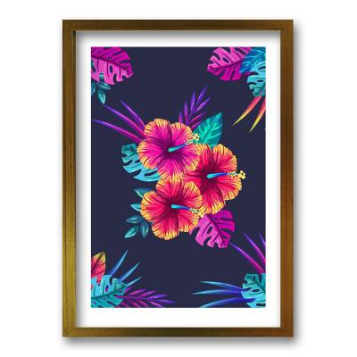 Cuadro ilustración hibiscus 90x60 cm