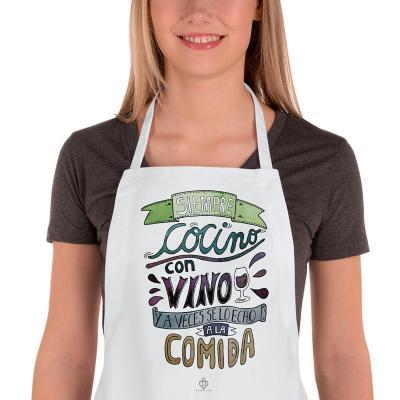 Delantal cocina siempre cocino con vino