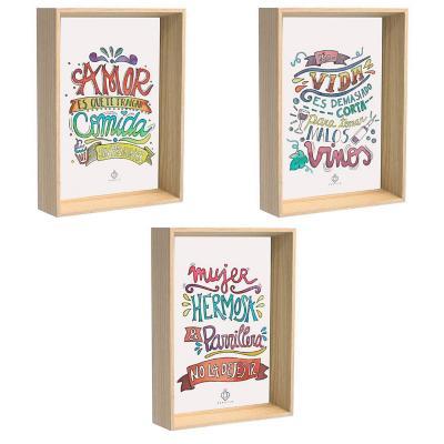 Cuadros 3 postales amor por la comida 10x15 cm