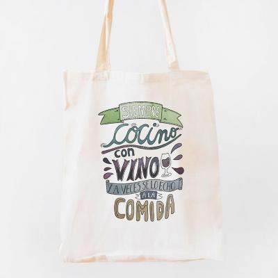 Bolso tela siempre cocino con vino