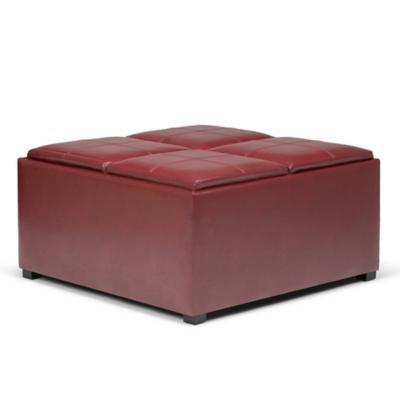 Otomana de centro con almacenamiento 89x89x45 cm rojo