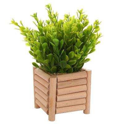 Arreglo planta jardinera madera 18 cm amarillo