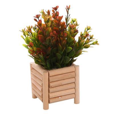 Arreglo planta jardinera madera 18 cm rojo