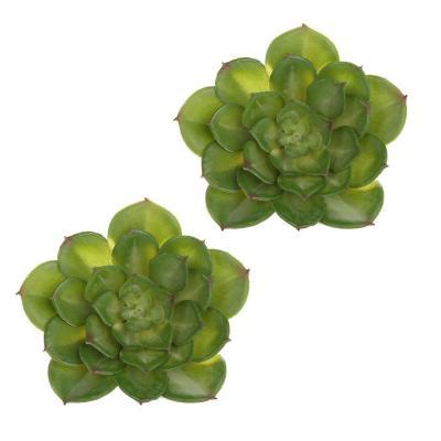 Pack 2 arbustos suculenta artificial verde