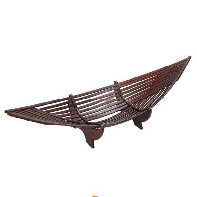 Centro de mesa canoa decorativa bambú 64 cm café