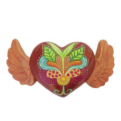 Corazón alado decorativo cerámica 13 cm rojo