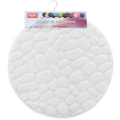 Piso para baño piedra 12mm  redondo blanco