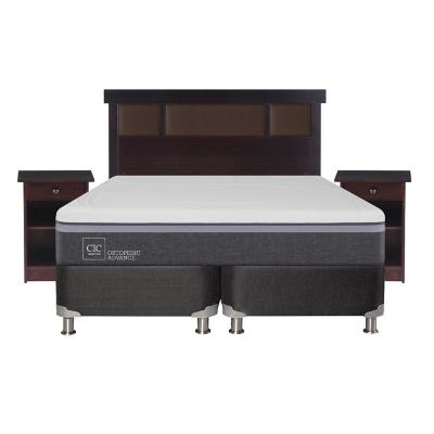 Box spring ortopedic advance b5 black 2 plazas + muebles