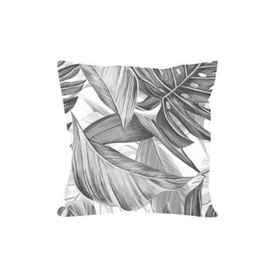 Cojín gabardina hojas blanco y negro 45x45 cm